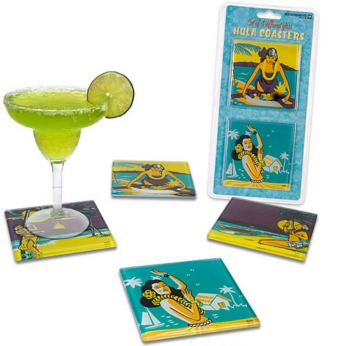 Glass Hula Coasters 4-Pack