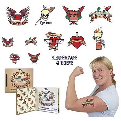The Illlustrated Librarian Temporary Tattoos