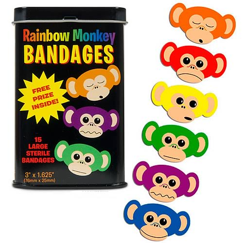 Rainbow Monkey Adhesive Bandages