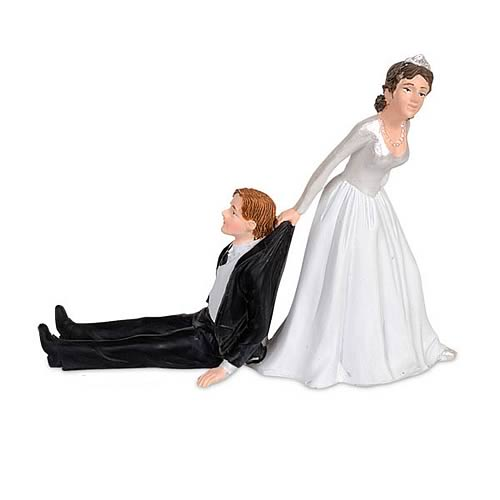 Reluctant Groom Cake Topper Figures