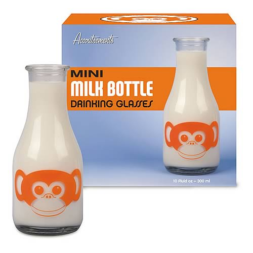 Monkey Face Mini Milk Bottle Drinking Glass 2-Pack