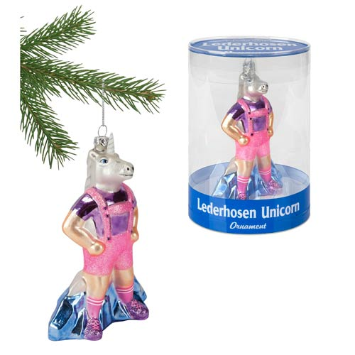 Lederhosen Unicorn Glass Ornament