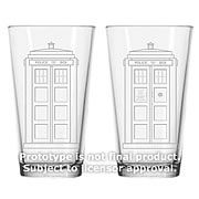 Doctor Who TARDIS Etched Look 16 oz. Glass Set of 2