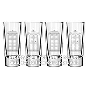 Doctor Who TARDIS Etched Look 2 oz. Glass Set of 4