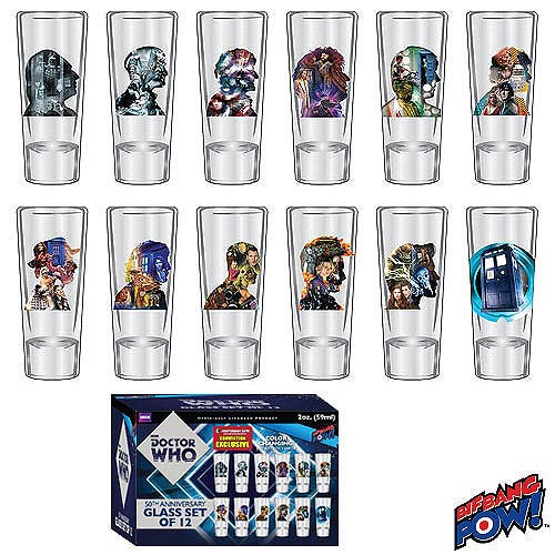 Doctor Who 50th 2 oz Glass Set of 12 Convention Exclusive