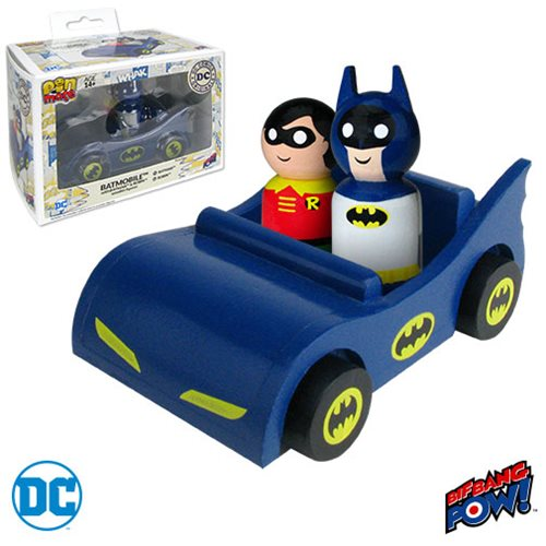 Batmobile with Classic Batman and Robin Pin Mate Wooden Set