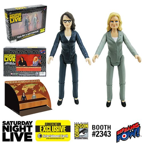 Saturday Night Live Weekend Update Amy Poehler/Tina Fey 3 1/2-Inch Action Figures Set of 2 - Entertainment Earth Exclusive