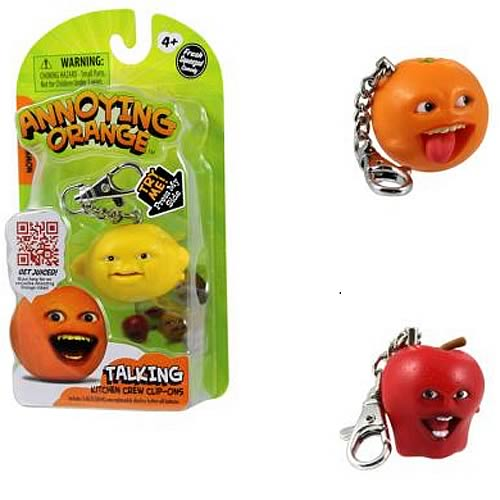Annoying Orange Talking Kitchen Crew Figure Key Chain Case