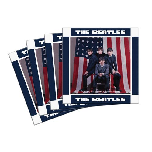 Beatles U.S. Visit 4-Inch Ceramic Coaster 4-Pack