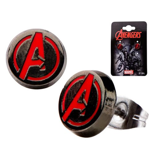 Avengers A Logo Red Round Stud Earrings