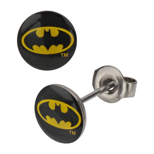 Batman Logo Black Stud Earrings