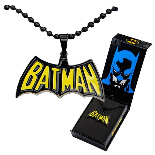 Batman Black-and-Yellow Batman Pendant with Chain Necklace