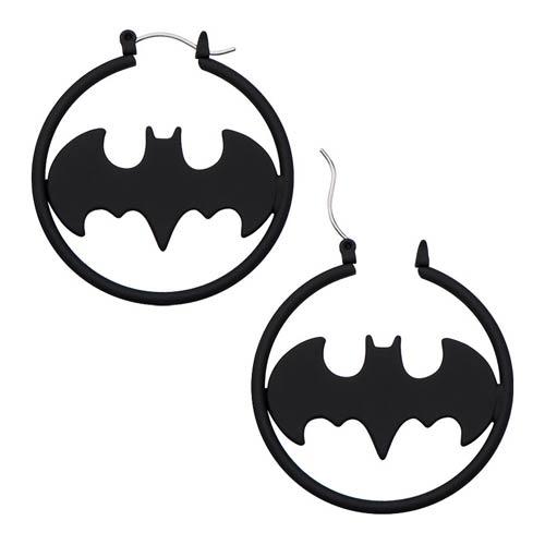 Batman Logo Matte Black Cut Hoop Earrings