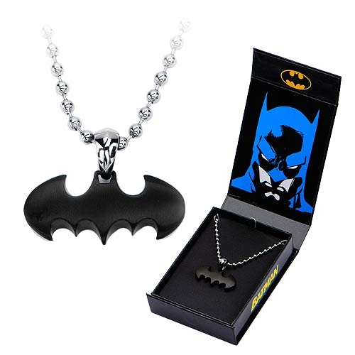 Batman Black Bat Pendant with Chain Necklace