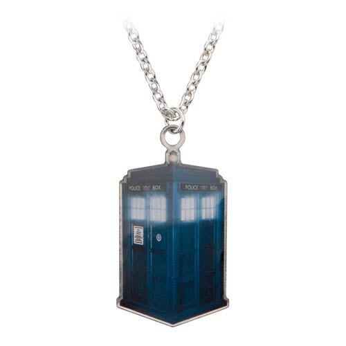 Doctor Who TARDIS Dog Tag Pendant with Chain Necklace