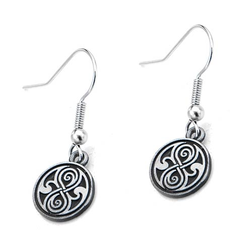 Doctor Who Seal of Rassilon Cast Dangle Earrings