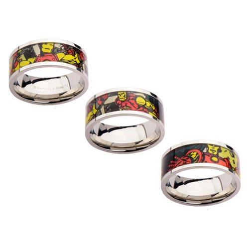 Iron Man Printed Comics Stainless Steel Ring