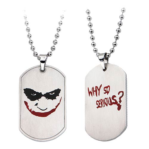 Batman Joker Why So Serious Smile Dog Tag and Chain Necklace