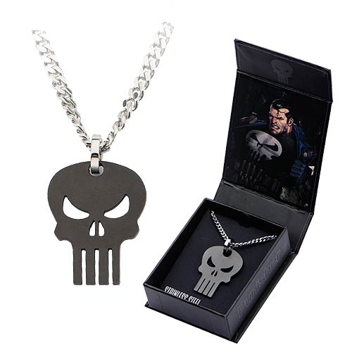 Punisher Black Skull Pendant with Chain Necklace