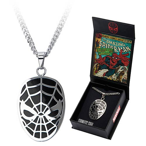 Spider-Man Face Black Pendant with Chain Necklace