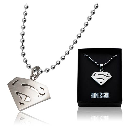Superman Logo Diamond Shape Dog Tag Pendant with Ball Chain
