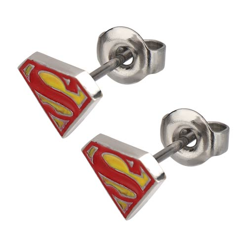Superman Logo Red-and-Yellow Epoxy Steel Stud Earrings