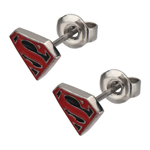 Superman Logo Red-and-Black Epoxy Steel Stud Earrings
