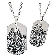 Star Wars Episode VII The Force Awakens Millennium Falcon Dog Tag Pendant Necklace