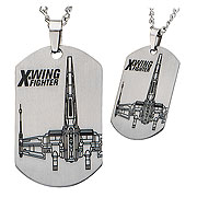 Star Wars Episode VII The Force Awakens X Wing Starfighter Dog Tag Pendant Necklace