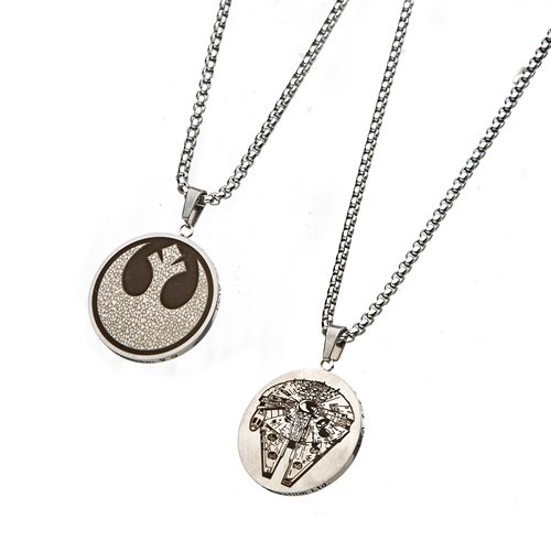 Star Wars Reversible Rebel and Millennium Falcon Necklace