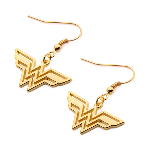 wonder woman logo gold plated dangle earrings body vibe. Black Bedroom Furniture Sets. Home Design Ideas