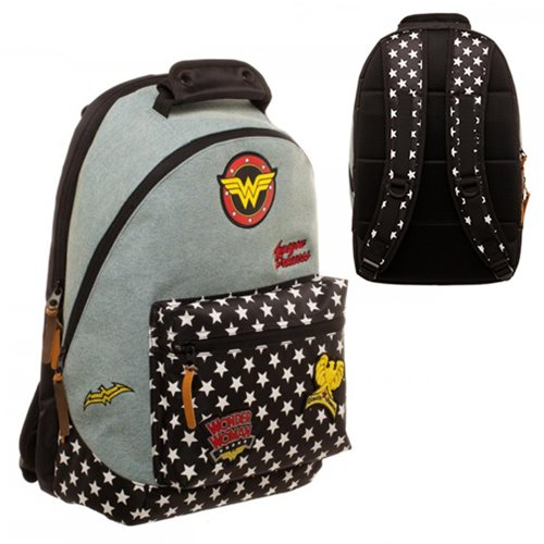 Wonder Woman Denim Backpack with Patches
