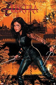 Elektra in Black Leather Wall Scroll