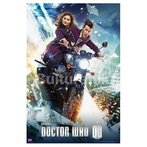 Doctor Who Eleventh Doctor on Bike Standard Poster