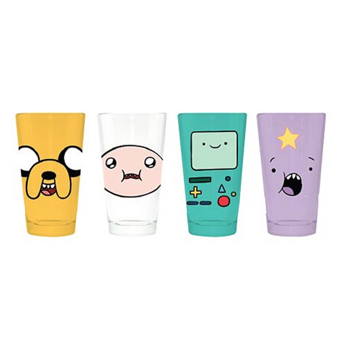 Adventure Time Character Faces Pint Glass 4-Pack