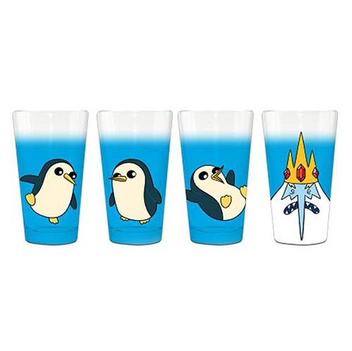 Adventure Time Ice King and Penguins Pint Glass 4-Pack