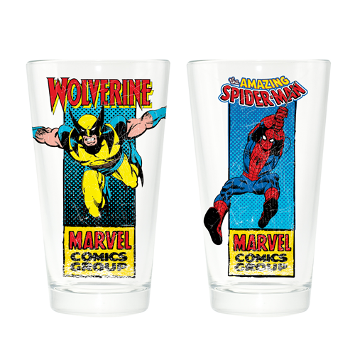Marvel Classic Spider-Man and Wolverine Pint Glass 2-Pack