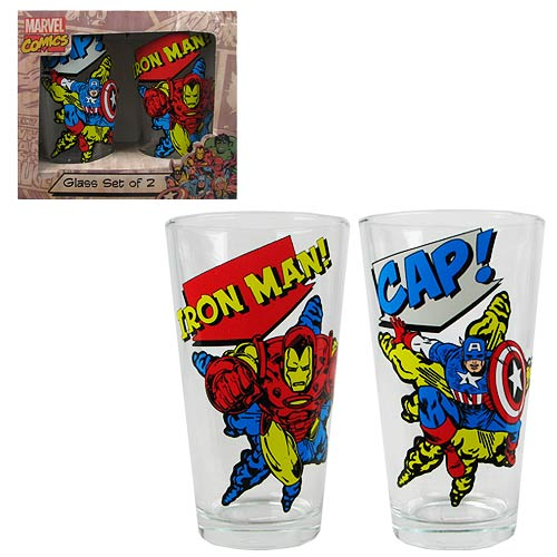 Marvel Classic Iron Man & Captain America Pint Glass 2-Pack