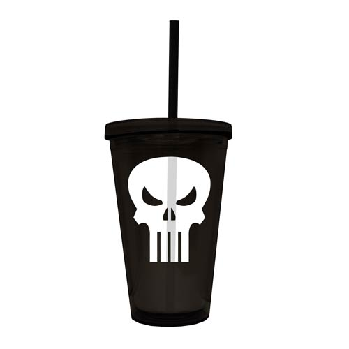 Punisher Skull Logo 16 oz. Black Acrylic Travel Cup