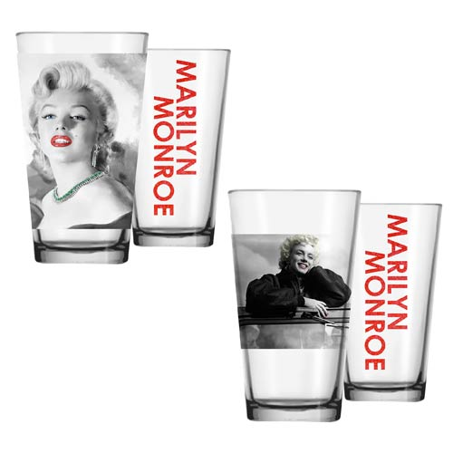Marilyn Monroe Jeep and Necklace Pint Glass 2-Pack
