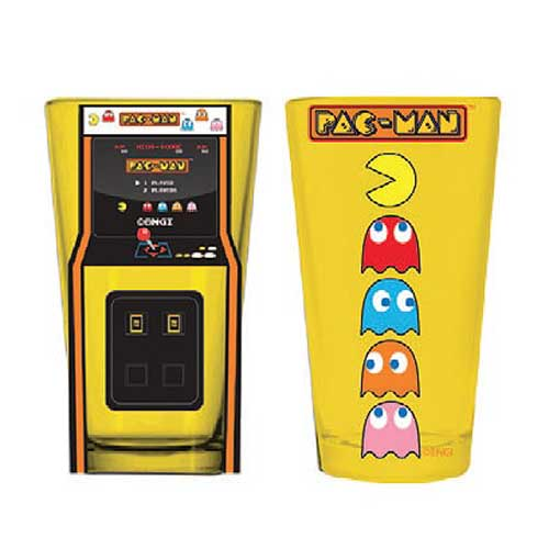Pac-Man Arcade Game Cabinet and Characters Pint Glass 2-Pack