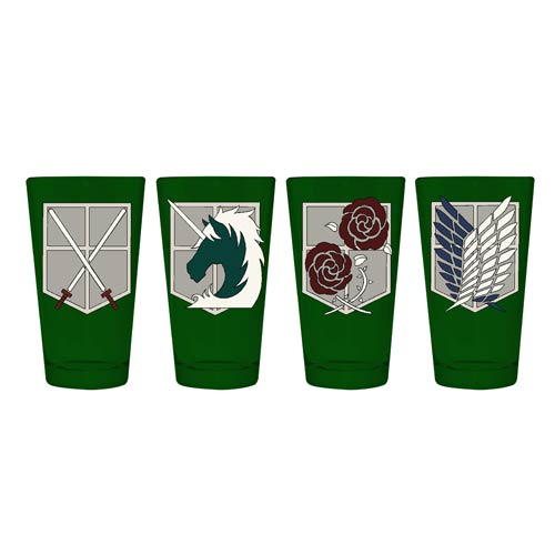 Attack on Titan Wall Badges Pint Glass 4-Pack