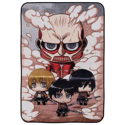 Attack on Titan Chibi Characters Fleece Throw Blanket