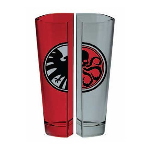 Marvel SHIELD and HYDRA Logo Half Pint Glass 2-Pack