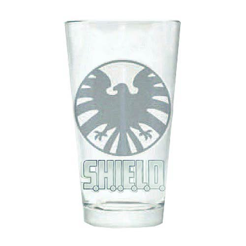 Marvel SHIELD Logo Silhouette Etched Pint Glass