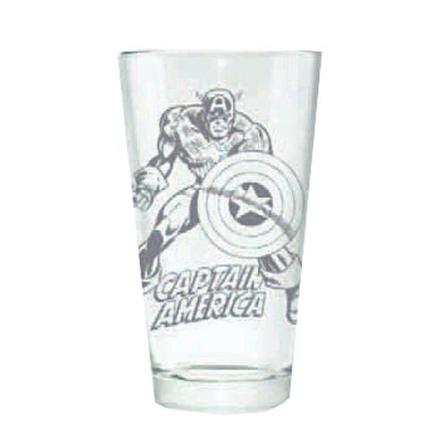 Captain America Hero Logo Etched Pint Glass