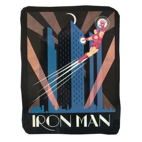 Iron Man Retro Ad Poster Artwork Fleece Throw Blanket