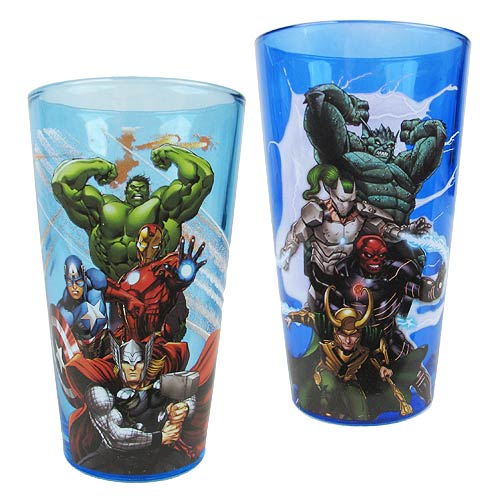 Marvel Avengers Heroes and Villains Pint Glass 2-Pack