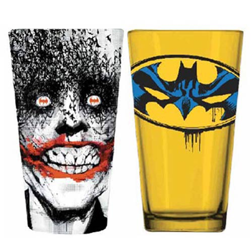 Batman Joker and Batman Logo Pint Glass