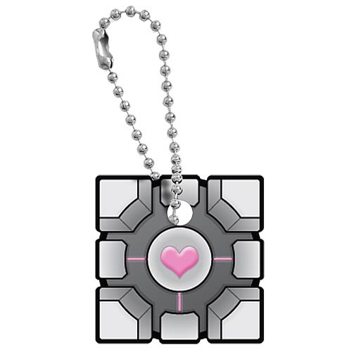 Portal Weighted Companion Cube Key Cap Key Chain